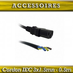 CABLE IEC FEMELLE 3x1.5mn-0.5m